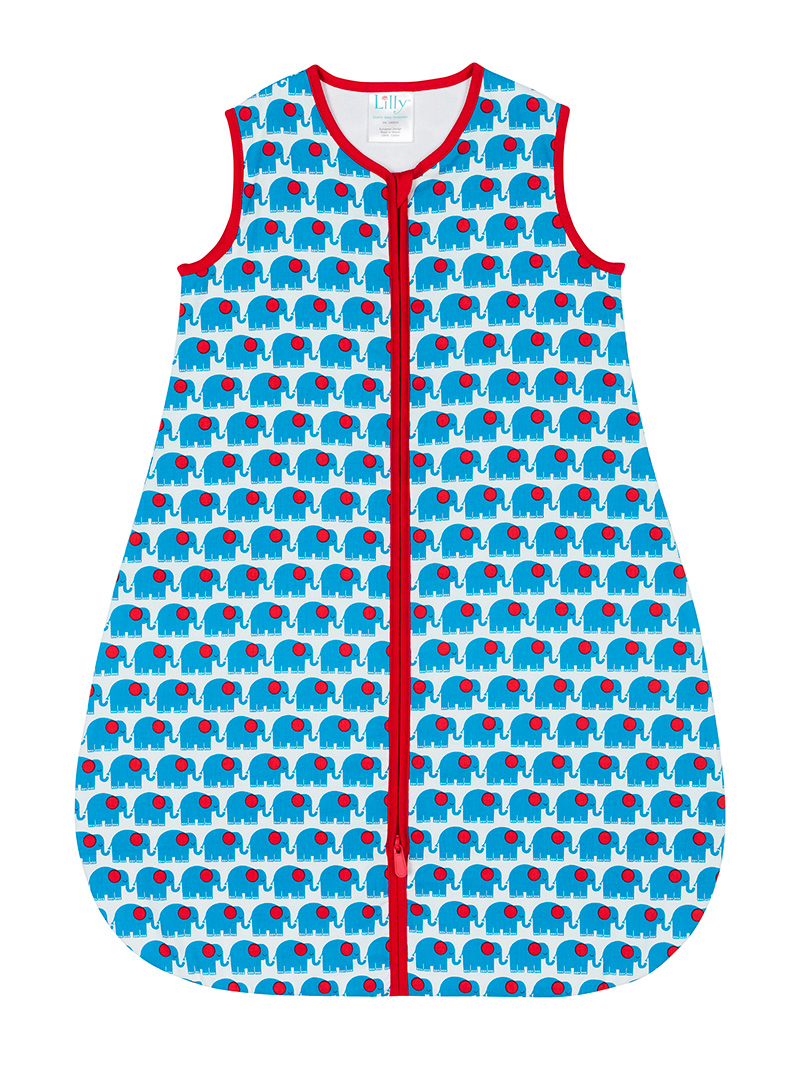 Blue Elephant Baby Sleeping Bag Front