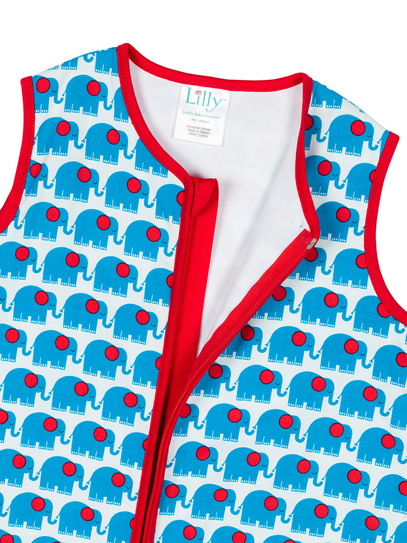 Blue Elephant Baby Sleeping Bag Open