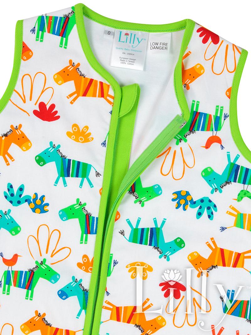 Green Zebra Baby Sleeping Bag Open