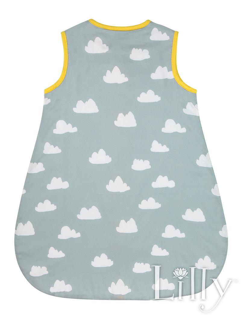Grey Cloud Baby Sleeping Bag Back