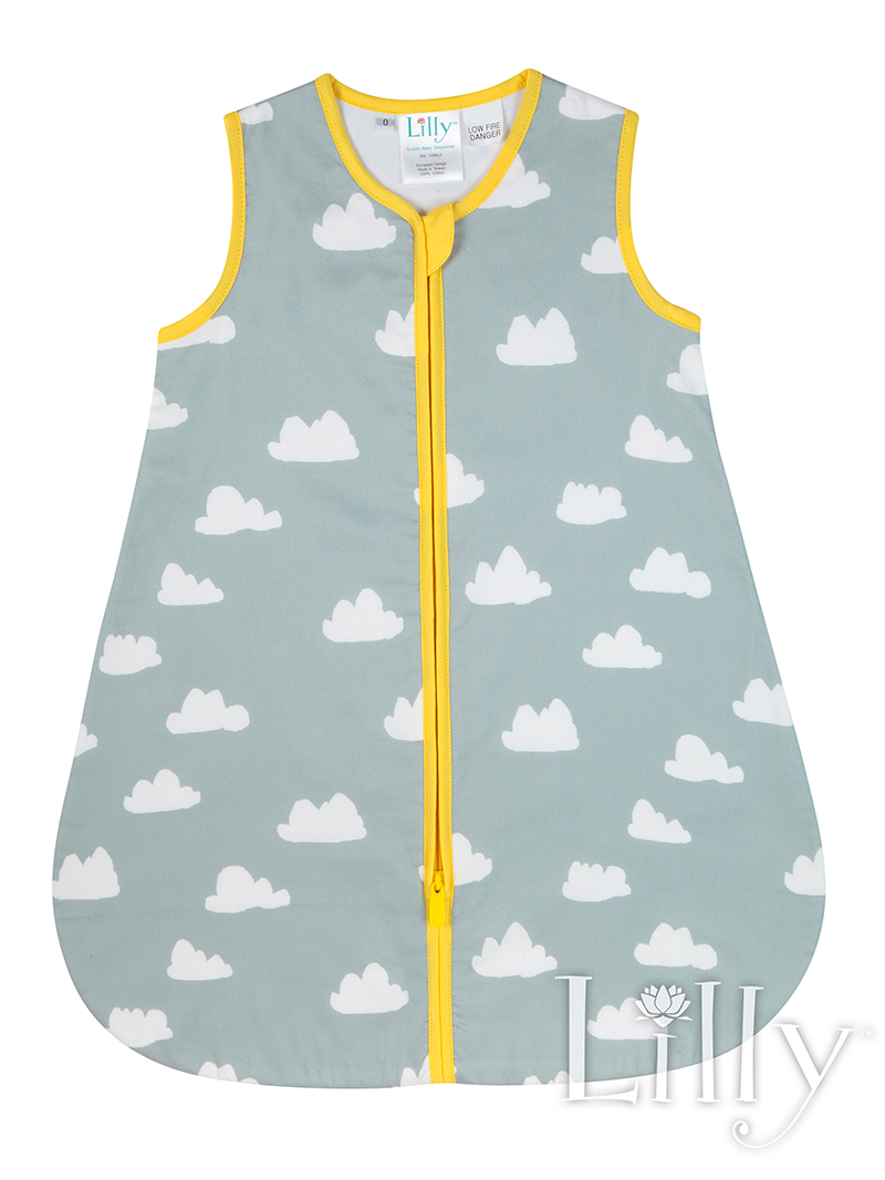 Grey Cloud Baby Sleeping Bag Front